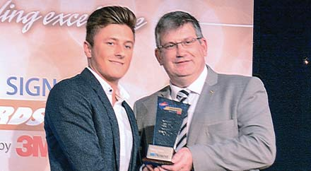 Nathan Aston wins Roland DG Apprentice of the Year award