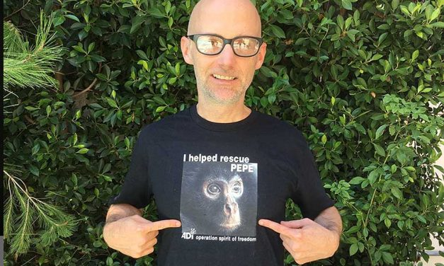 Ricky Gervais and Moby promote new ADI tees