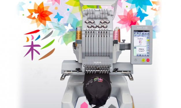 First showing of new Tajima SAI Super compact embroidery machine at Newtech workshop