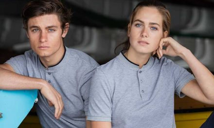 Stand Collar Stretch Polo Shirt from Front Row