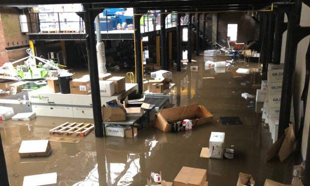 Calder Screen Print hit by flood after Storm Ciara