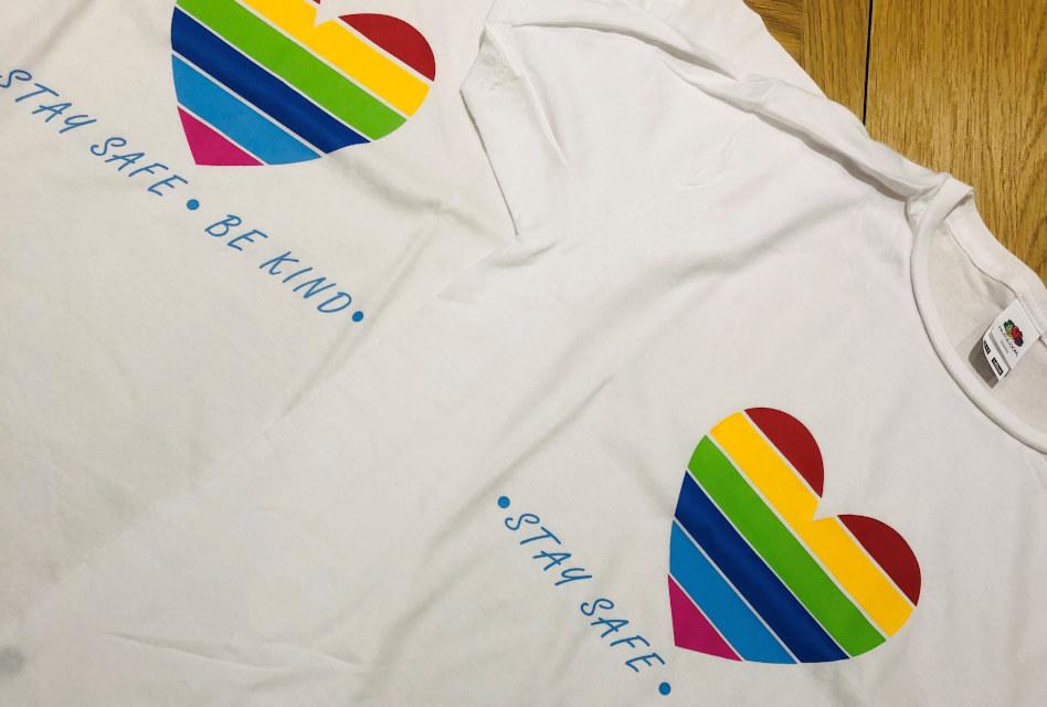 Stay Safe, Be Kind: KT Textiles creates rainbow heart tees
