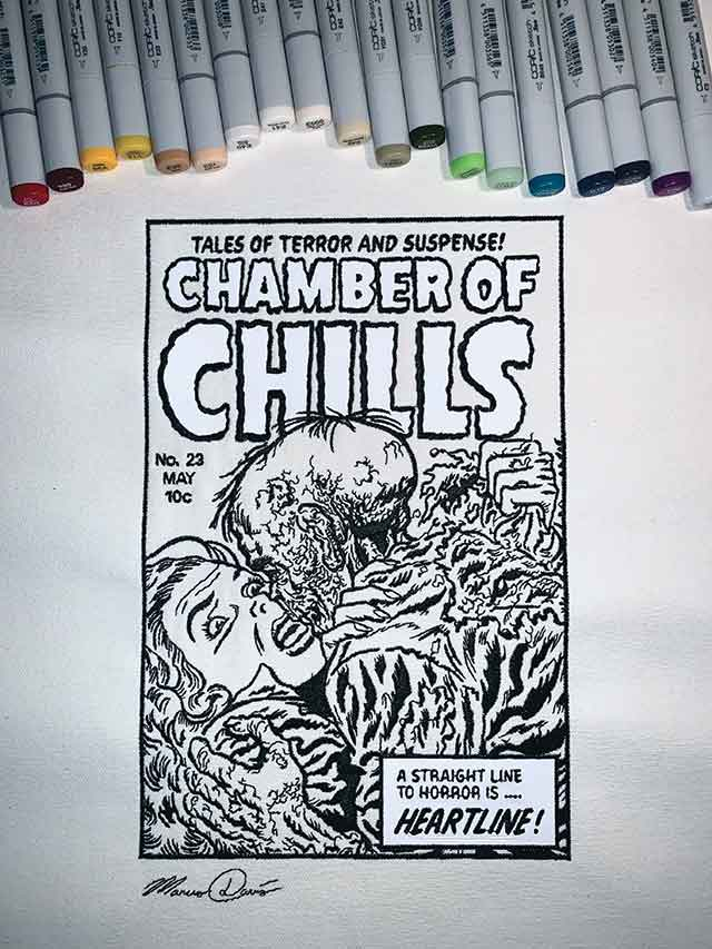 Chamber of Chills black and white design with coloured pens