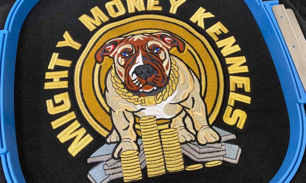 The Uniform Room's 137,197 stitch embroidery for Mighty Money Kennels