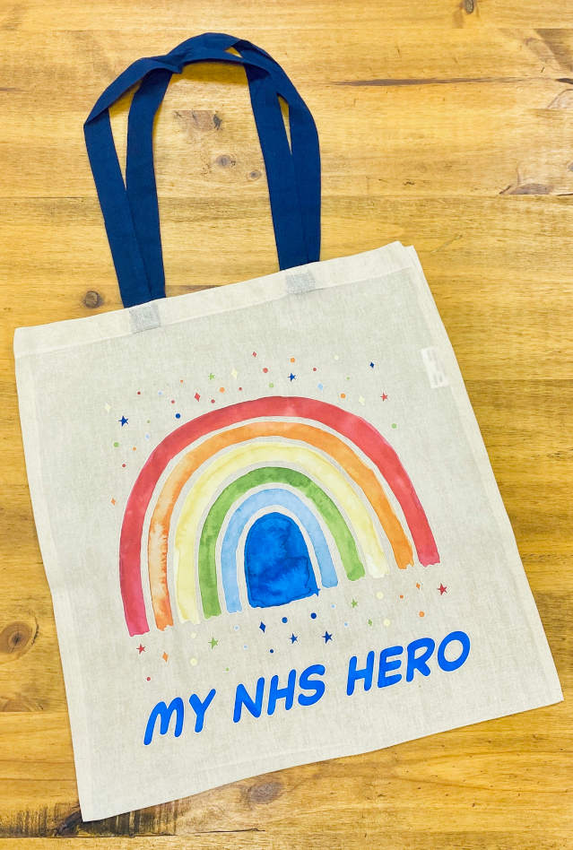 Mina Group printed its 'My NHS Hero' tote bags using a Blue Wave Japanese-style High Pressure Heat Press