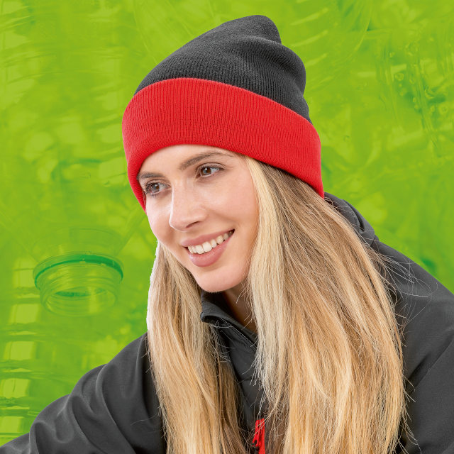 The new Recycled Black Compass Beanie matches the Black Compass Padded Softshell Jacket and Gilet
