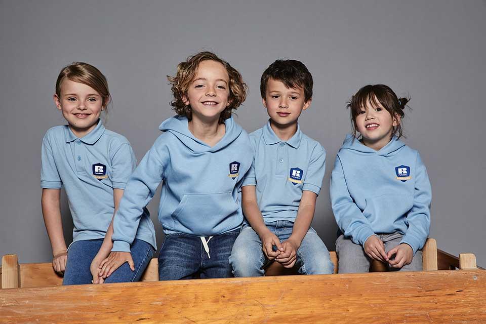 Russell Schoolgear Polos in sky blue