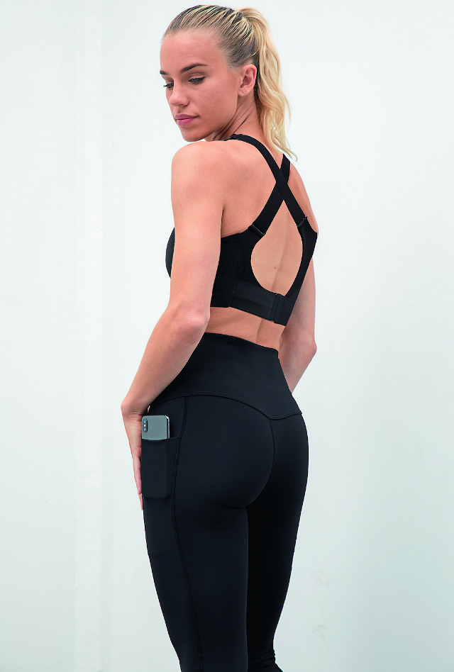 The Core Pocket Legging has a deep waistband and is squat-proof, reports Tombo