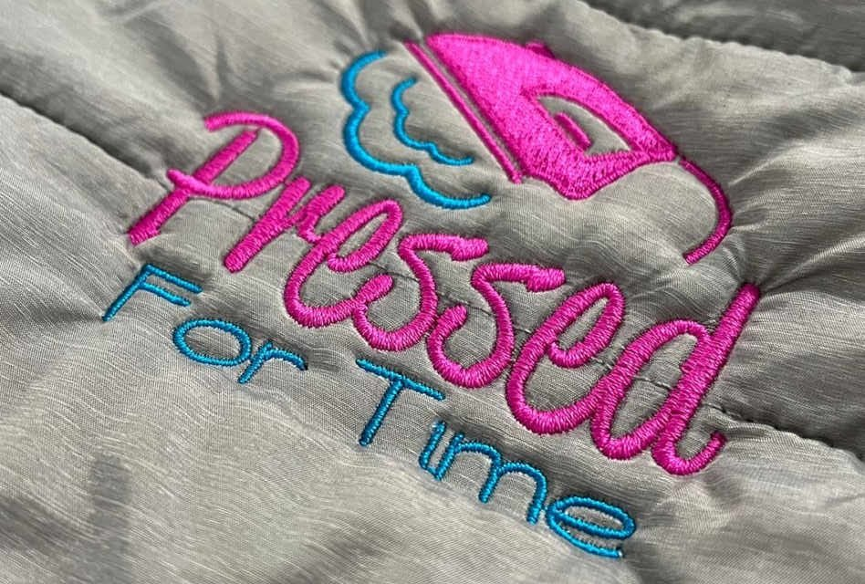 Pressed For Time embroidered workwear by Ripples Prints