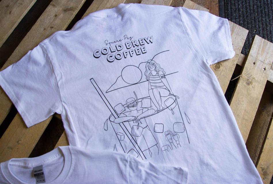 Square Peg Coffee T-shirts by Back Flood Press