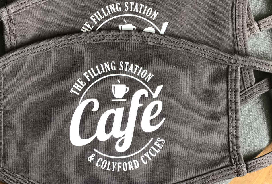 The Filling Station Cafe & Colyford Cycles face masks