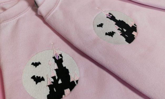 Spooky castle embroidery by Cheeky Beans Studios
